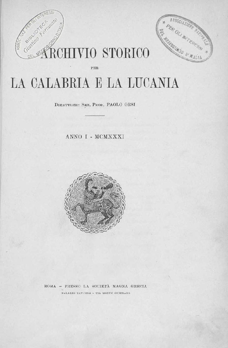 Archivio Storico per la Calabria e la Lucania